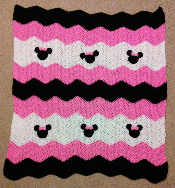 Pink Black and White Minnie Mickey Mouse Crochet Baby Afghan, Baby blanket ripple afghan on Etsy, $35.00