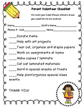 We all know how valuable Parent Volunteers can be to our classrooms.  This is a checklist that I send home at the beginning of each school year.  T...