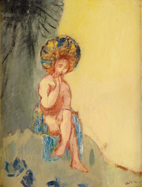 Odilon Redon (1840-1916), Petite Baigneuse, huile sur carton mince marouflé sur carton fort, monogramme, n° 44 au crayon bleu, 35,8 x 27 cm (traces de plis).  Estimation : 50 000/60 000 € Dimanche 9 juillet, Fontainebleau.  Osenat OVV.
