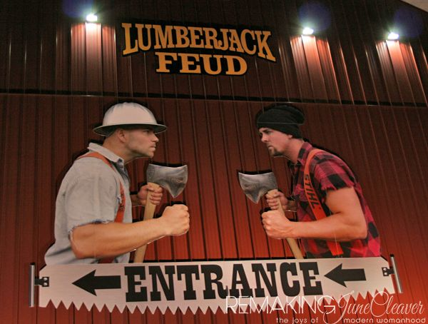 lumberjack feud pigeon forge, TN. Chuck and I went here fir the dinner show and It was friggin' awesome!