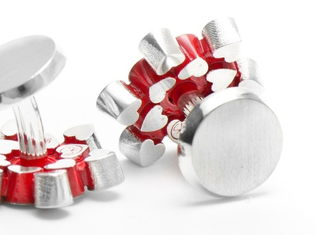 'Secret Hearts cufflinks' by Cinnamon Lee  Sterling silver, red cold enamel  Available in store and online   http://egetal.com.au/store/product/CCL116