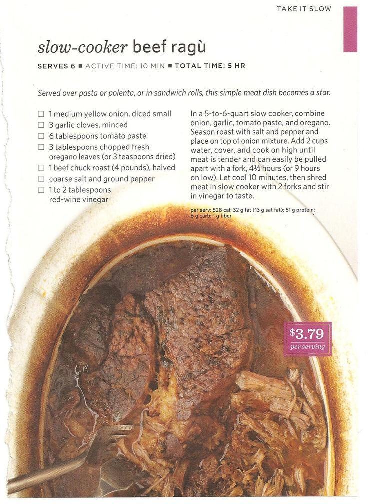 Slow cooker beef ragu