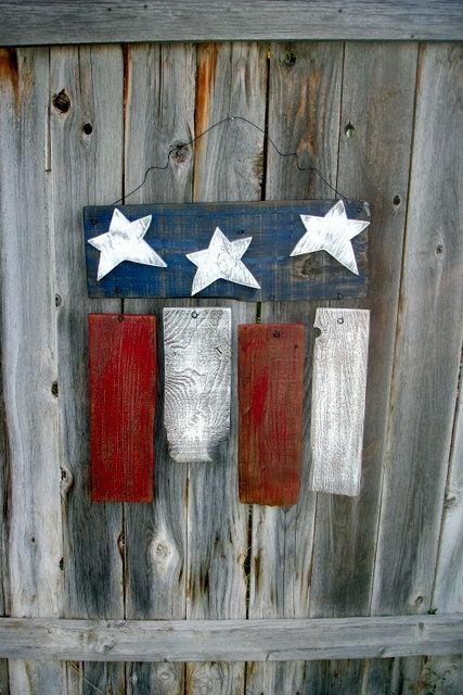 Rustic Reclaimed Wood Americana Flag Fourth of July Memorial Day President's Day Decor by catrulz