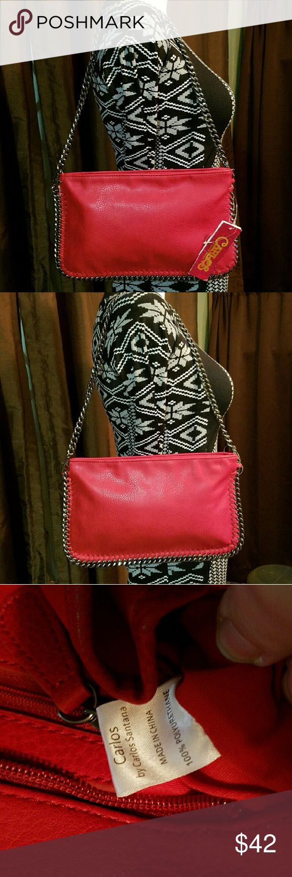 Spotted while shopping on Poshmark: CARLOS SANTANA *nwt* Red Faux Leather & Chains Bag! #poshmark #fashion #shopping #style #Carlos Santana #Handbags