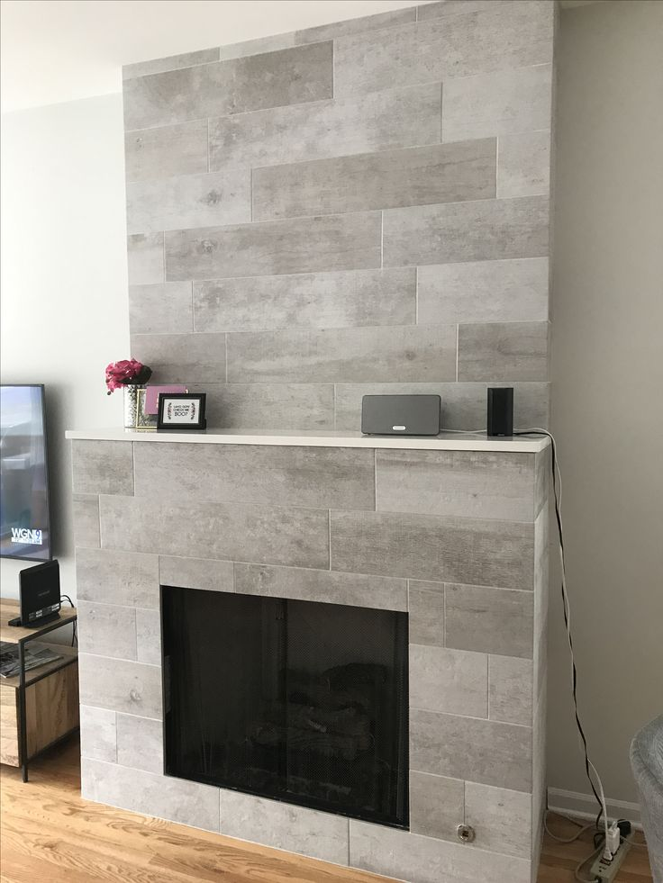 Modern Rustic Fireplace Cool Amp Sleek Wood Grain Gray Grey Porcelain Tile From Tile Outlet