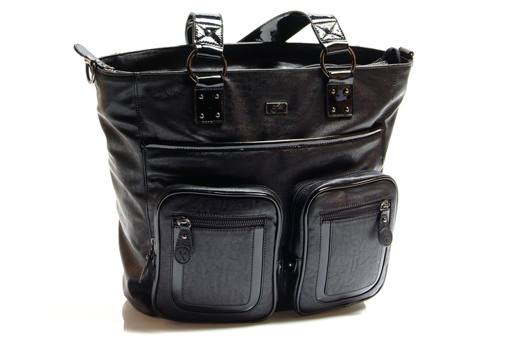 NEW 'Kate' NS Tote (available mid June) This stylish, classic Tote will suit all fashion conscious mamas.  Styled in black PU leather with patent PU straps and trim, this bag commands attention!