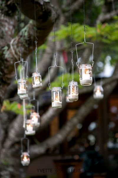 Tree lanterns from recycled galss jars