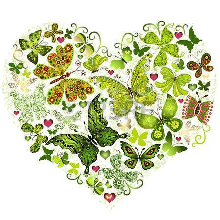 Big spring grunge heart made of green butterflies (vector) photo