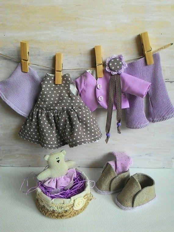 Tela muñeca doll-ropa-arte traje lila tela trapo por JuliettaDoll