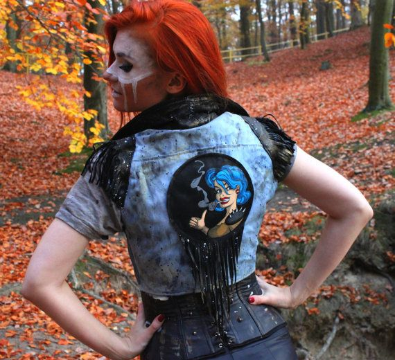 One of a kind denim vest with leather fringe made with love to post apocalypse, fallout and tank girl. Completly hand made and has been recycled