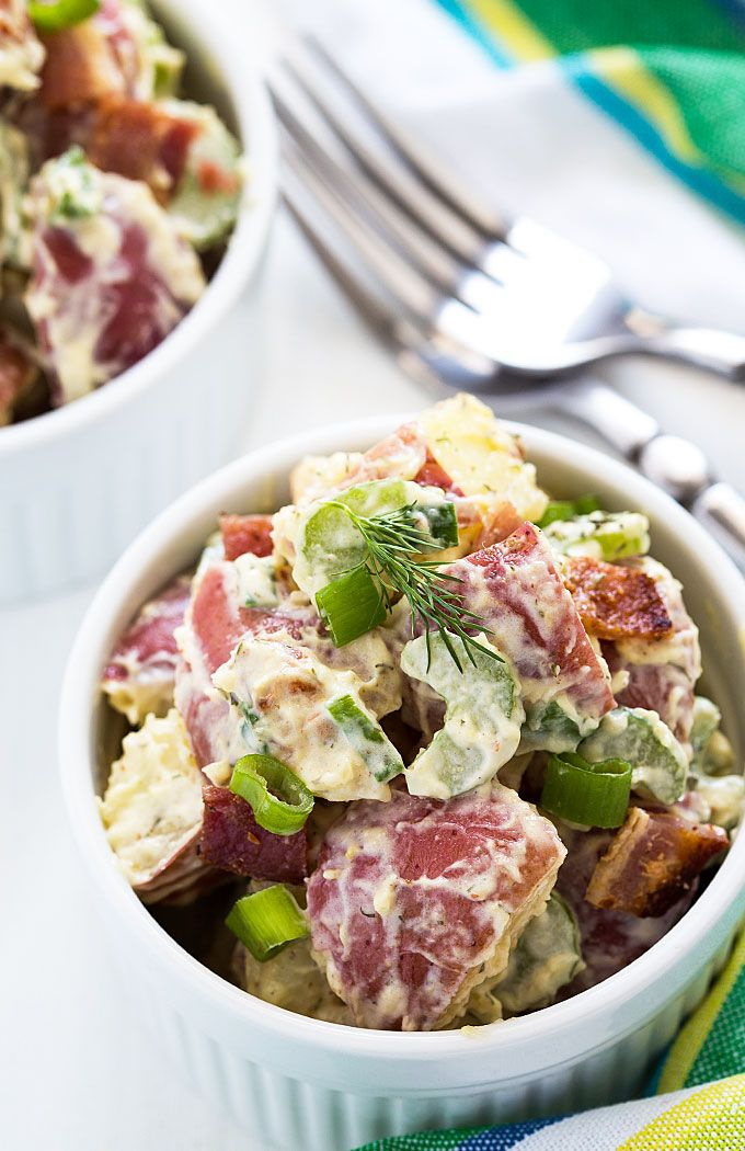 Red Potato Salad - Creamy red-skinned potatoes with bacon, celery, green onions and dill.