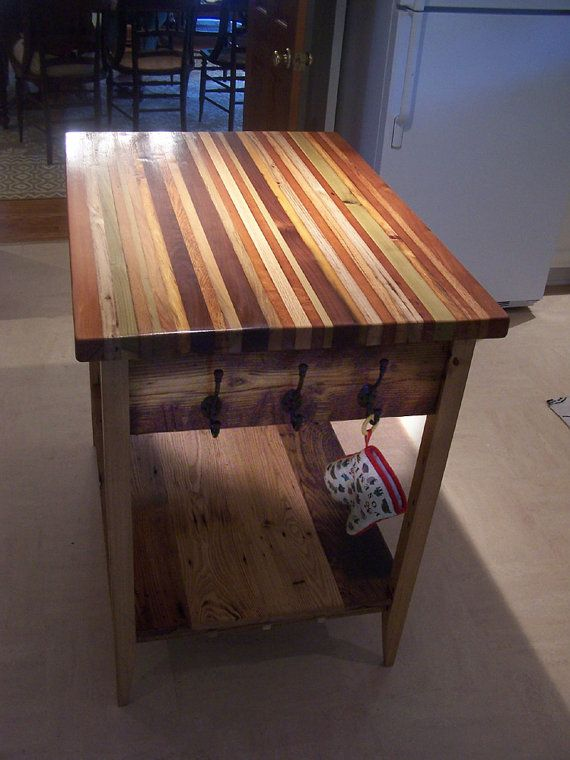 Our Unique Butcher Block Kitchen Islands Features A Thick Top Made From A  Colorful Selection Of Reclaimed Hardwoods And Sealed With Multiple