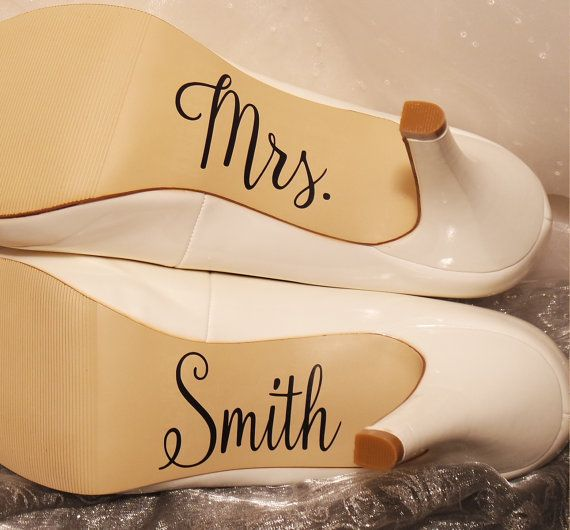 Personalized Wedding Shoe Decals High Heel by CraftyWitchesDecor