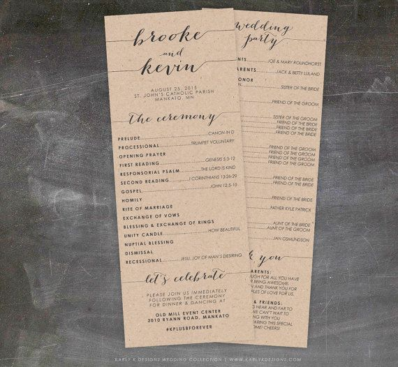Rustic Wedding Program Printable • DIY Wedding Programs • Unique Wedding Programs • Double Sided • Calligraphy • SKU: 601