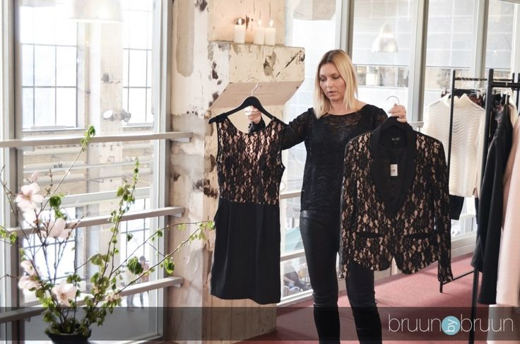 The designer Vibeke showing off ideas to wear for New Years Eve #AW14 #mbyM
