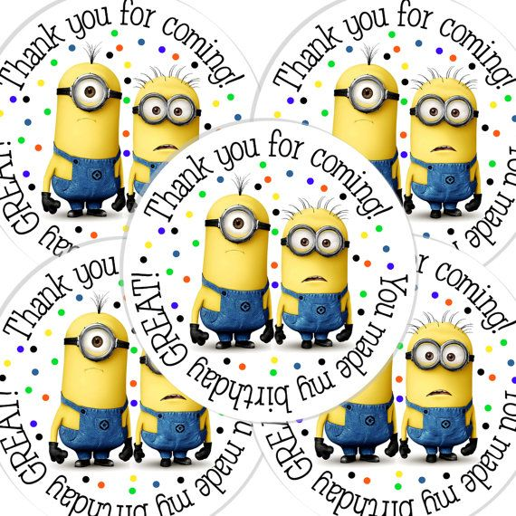 20  2 Inch round Despicable Me Birthday sticker labels party favors