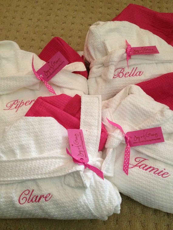 Set of 4 - Child Kids SPA SET Double Monogram Embroidered Monogram Bath Robe Hooded Waffle Weave 100% Cotton & Cosmetic Travel Bag