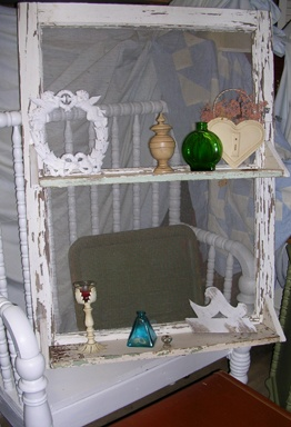 old window with shelves