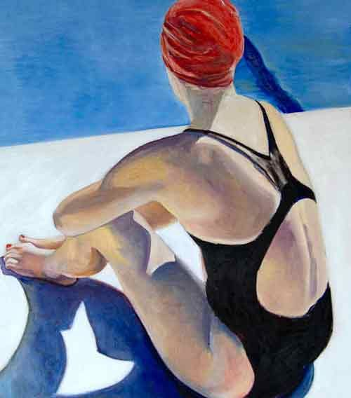 Elizabeth  Gorek - Elizabeth Gorek Finish Line a colorful figurative oil painting at Seager Gray Gallery in Mill Valley California San Francisco Bay Area