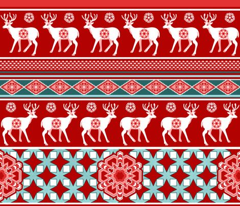 Best wishes from the reindeers!red fabric by chicca_besso on Spoonflower - custom fabric