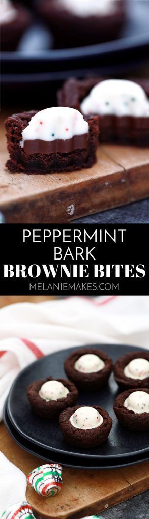 These one bowl Peppermint Bark Brownie Bites are an easy holiday inspired sweet that take just 15 minutes to prepare. Peppermint bark candies stud these deliciously fudgy, one bite chocolate brownie treats.
