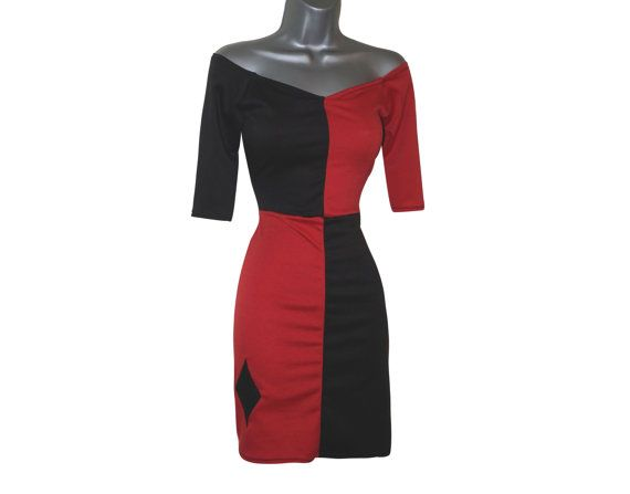 Harley Quinn Bodycon Bardot Dress Black Red Jester Pin Up Fancy Dress Costume (UK 8) (US 4)