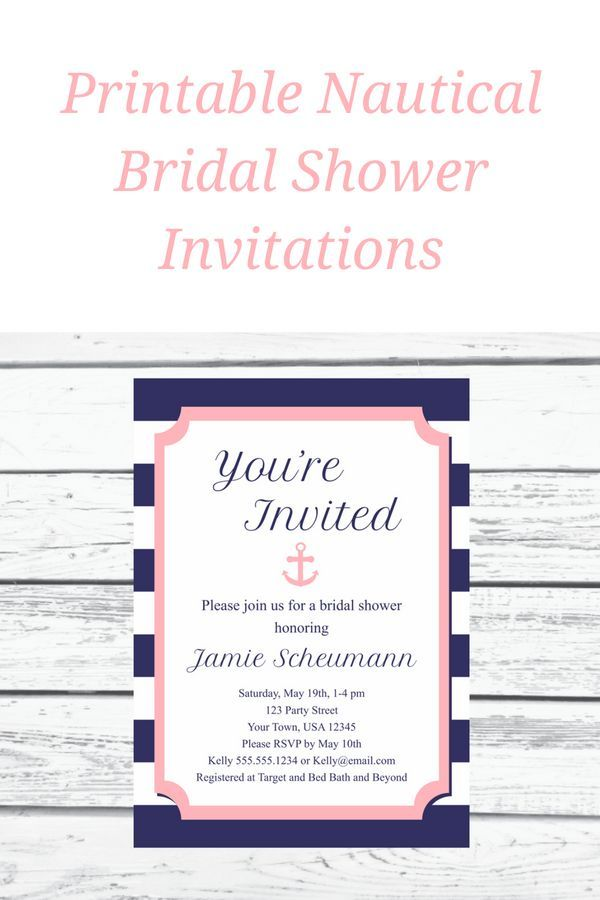 Navy And Pink Nautical Bridal Shower Invitation Printable Editable