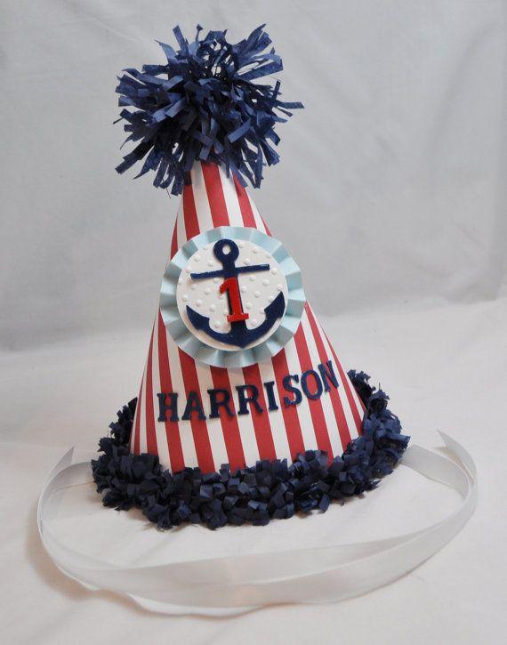 1st Birthday Nautical Party Hat van CardsandMoorebyTerri op Etsy, $13.50