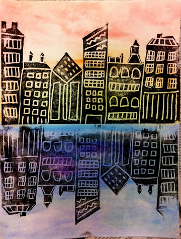 city-scapes...warm and cool colors; watercolor backgrounds; scratch foam prints. cut out city.. reprint in water: do not re-ink after printing land cityscape