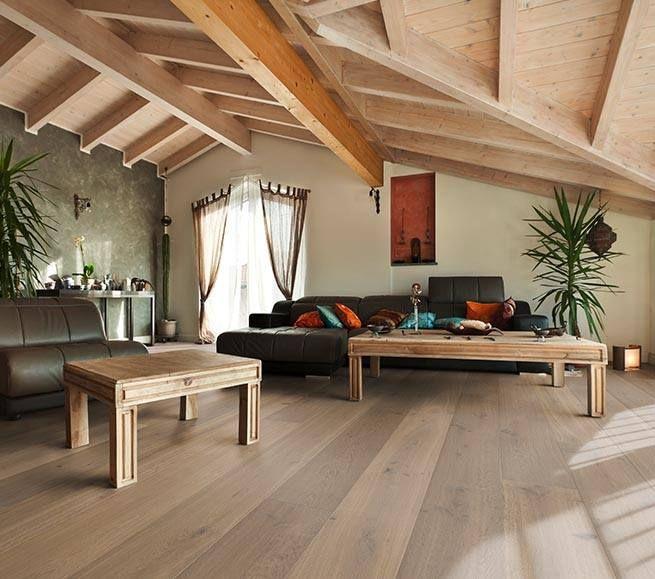 Landhausdiele Eiche Majorca Von Koelnparkett Als Parkett Im Wohnzimmer Unterm Dach Ein Moderner Dachausbau Mit