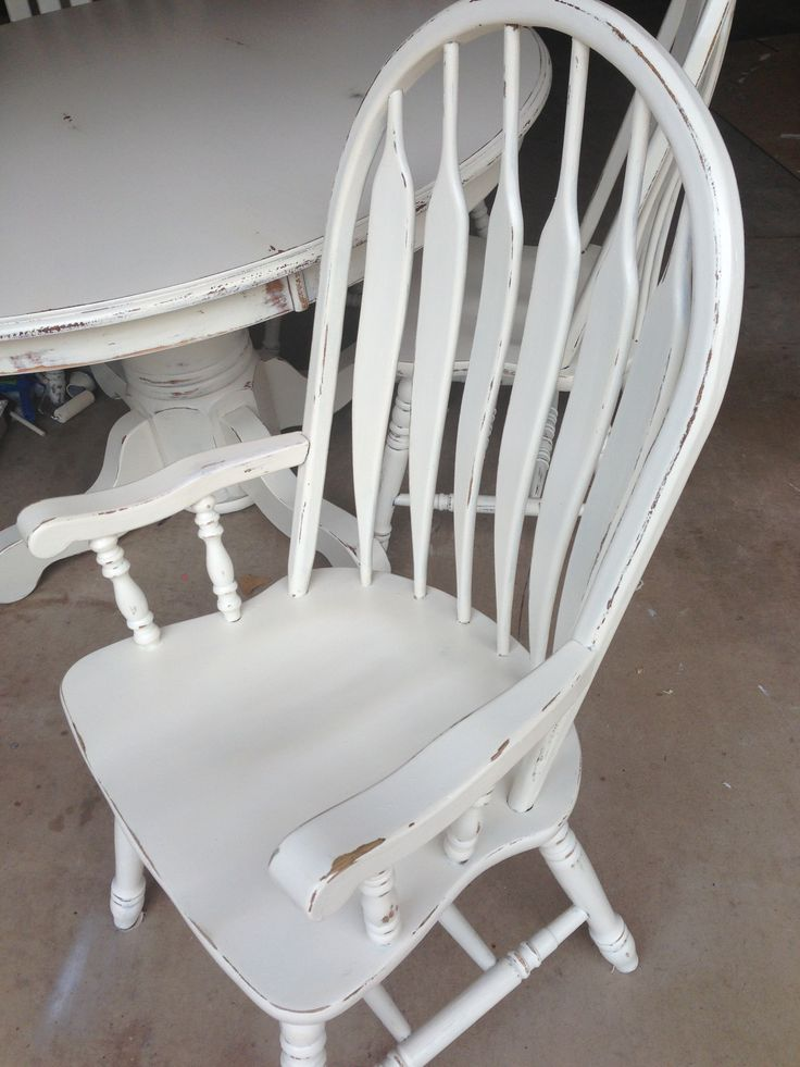 Refinished Painted Distressed Chair In Cream White