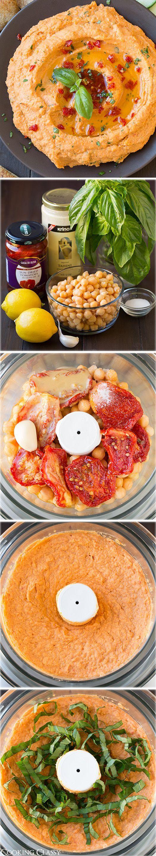 Getrocknete Tomaten und Basilikum - Ein Hummus Rezept als frischer und leckerer Dip.  Als einfache Vorspeise oder zur nächsten Gartenparty.
