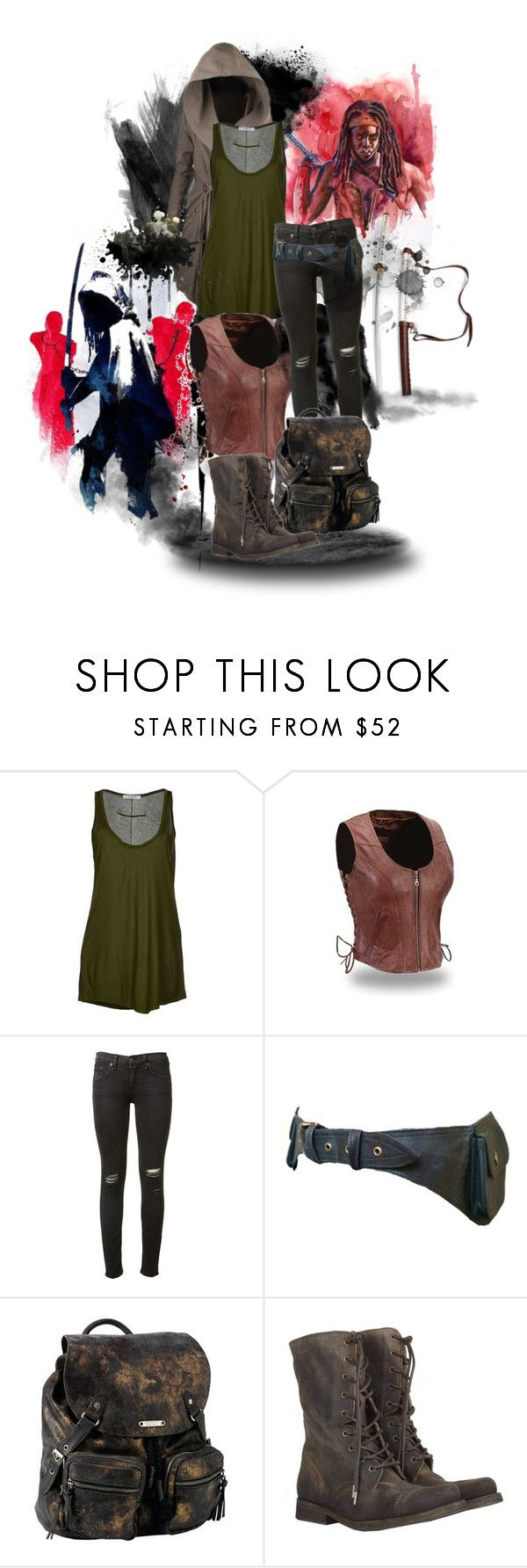 """TWD - Michonne Costume"" by matildaaah ❤ liked on Polyvore featuring Nicholas K, Givenchy, rag & bone, Roxy and AllSaints"