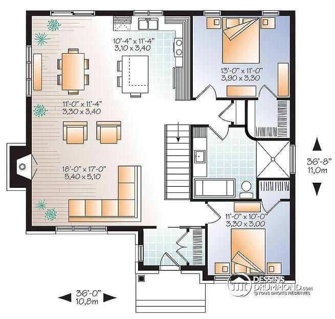 plan maison aire ouverte plain pied