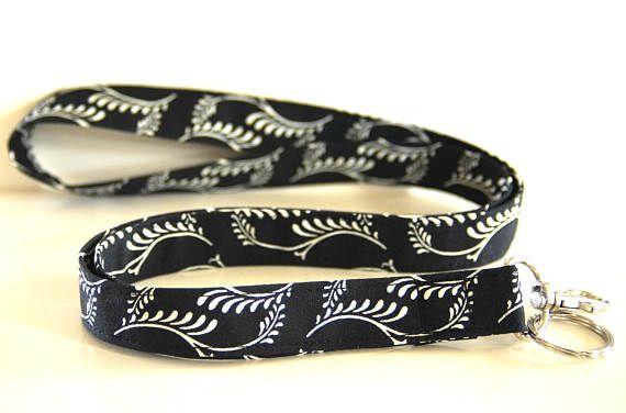 Women's Fabric Lanyard Black and White Lanyard Fashion