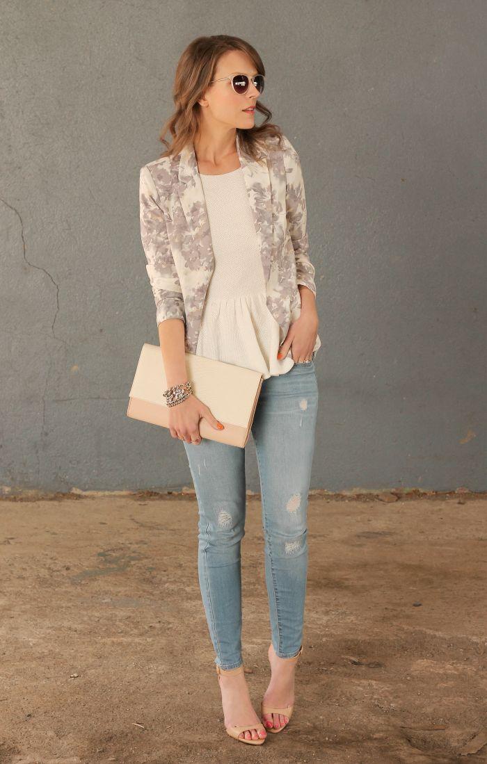 Floral blazer, ivory peplum top, light denim skinny jeans, nude bag and clutch