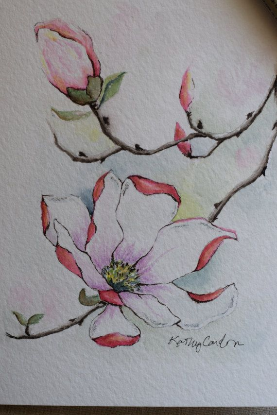 Pink Magnolia watercolor painting card-Original by SunsetPeonies