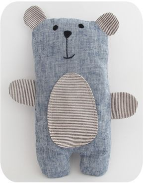 Musterverkauf – Blauer Leinen-Bailey-Bär (Verkauft Stoff Handwerk