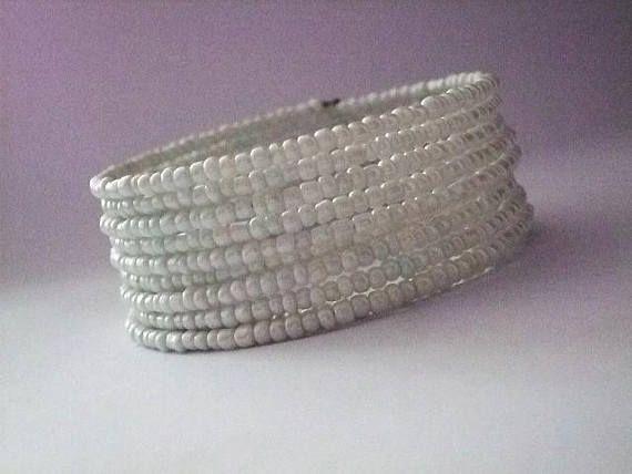 Memory wire braceletbeaded wrap bangle braceletSpiral Cuff