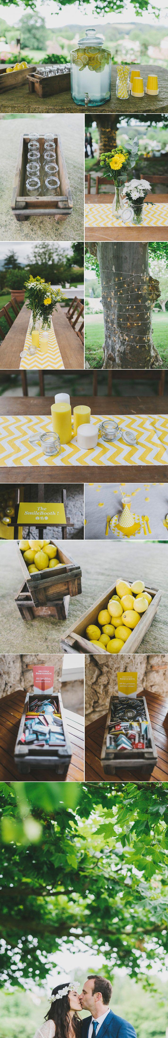 Plein de jolis détails pour ce mariage vitaminé: de la limonade, des lumières, des motifs géométriques, de jolis souvenirs à emporter...Bref, j'adore!