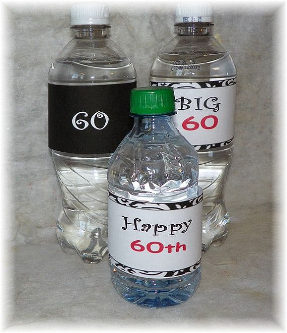 Printable 60th Birthday Water Bottle Labels DIY Anniversary B Day Pinte