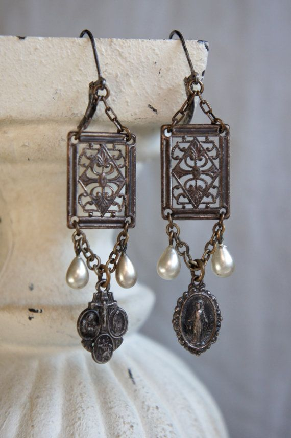 Vintage+assemblage+earrings+religious+by+frenchfeatherdesigns,+$59.00
