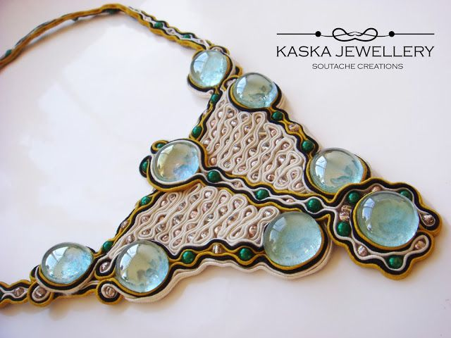 Antoinette, Soutache necklace with drops of light blue glass cabochons.