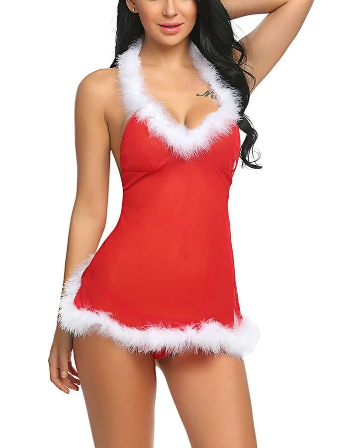 Xmas Red Underwear Sexy Lingerie Dress Sleepwear Babydoll Nightwear  G-String Set Sexy Lingerie Underwear 0b3d30f67