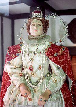 Wax figure of Elizabeth I. Photo June 2000.Vestments, Wax Figures, Elizabeth I