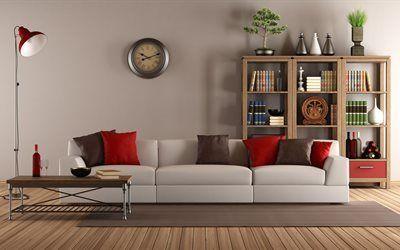 Scarica sfondi libreria, divano, soggiorno, guarda
