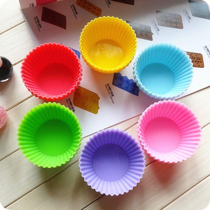 Hornear necesario 24 unids Ronda En Forma de Silicona Molde de La Torta Del Molde Del Jabón Del Pudín de La Jalea moldes Moldes Para Muffins (Color en Al Azar)