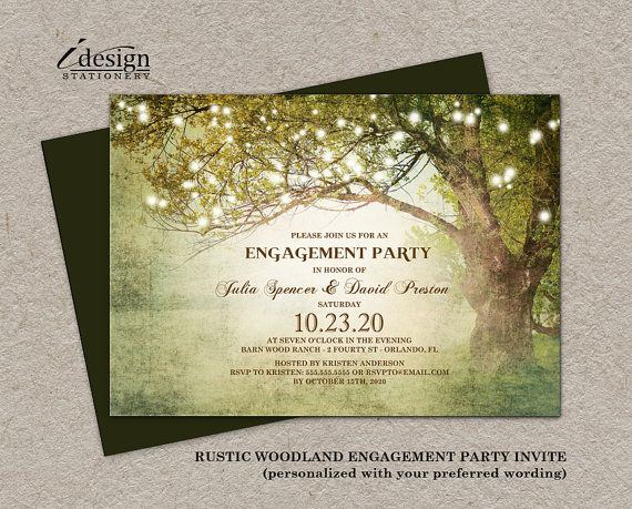 Printable rustic woodland backyard engagement party invitation with string lights for an enchanted tree, garden, country themed and fairy