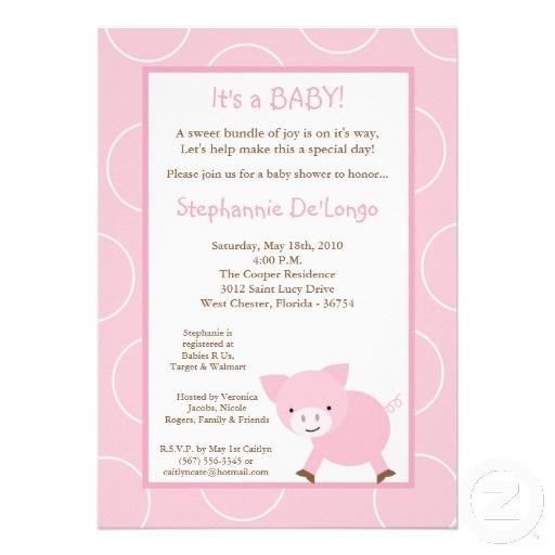 pig baby shower invites