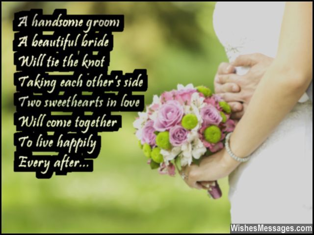 Sweet Wedding Wish To Congratulate Bride And Groom Wishes Pinterest Poem View Source Card